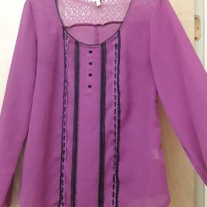 Pink Magenta Sheer Boho Blouse XL